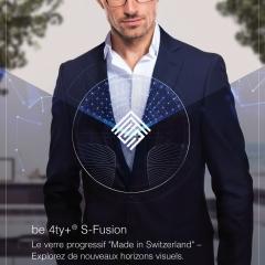 """be 4ty+ S-Fusion - Le verre progressif """"Made in Switzerland"""" – Explorez de nouveaux horizons visuels."""