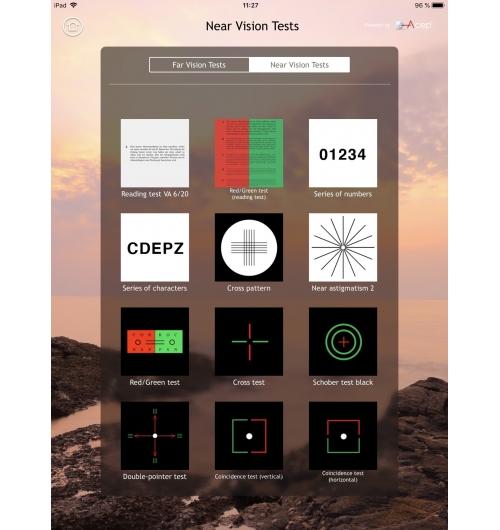 Test de Vision - L'application, qui peut être pilotée depuis votre smartphone, offre des tests de vision pour la vision de loin et la vision de près. Ces tests vous permettront de mesurer les acuités visuelles monoculaires et binoculaires mais, également, de dépister des hétérophories horizontales et verticales, grâce à des tests polarisants et anaglyphes. Vous pourrez, de plus, tester les 3 niveaux de la vision binoculaire ainsi que la perception des couleurs.  Outre le fait de pouvoir contrôler le bon confort binoculaire, Vision Test vous sera très utile pour la livraison d'un équipement en verres progressifs, à la table de vente, pour confirmer à votre client le bien-fondé de son nouvel équipement, tout en lui montrant la modernité de vos outils professionnels. Fini le vieux test de Parinaud cartonné tenu à 33 cm. Utilisez un outil différenciant qui ajuste la taille des caractères à la distance réflexe de lecture de votre client. Un outil qui appartient à notre ère numérique.
