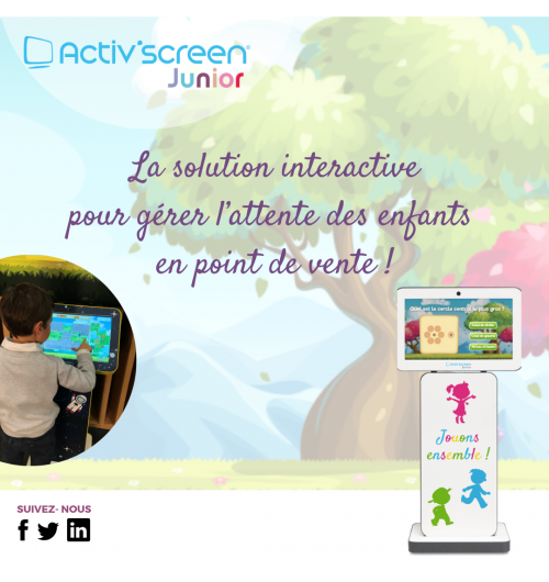 ACTIV'SCREEN® JUNIOR - ACTIV'SCREEN® propose à ses clients opticiens de créer un Espace Enfants digital en magasin en quelques minutes.  ACTIV'SCREEN® JUNIOR est une solution interactive clé en main, conçue pour gérer l'attente des plus jeunes, dès l'âge de 3 ans. Peu encombrant, la solution au design personnalisable dispose d'une série de jeux éducatifs multi-niveaux.  ACTIV'SCREEN® JUNIOR séduira les petits comme les grands ! Avec la série de jeux multi-niveaux et multijoueur adaptée au secteur de l'optique, les enfants patientent en s'amusant grâce à ACTIV'SCREEN® JUNIOR. Les parents, eux, sont plus sereins et plus à l'écoute pendant leur rendez-vous.  Les + ACTIV'SCREEN® JUNIOR :  - Solution compacte et plug & play ; - Jeux multi-niveaux et multijoueur ; - Habillage interchangeable et personnalisable ; - Disponible en 2 couleurs : jaune et gris.